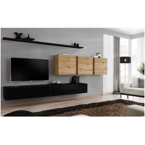 Ensemble meuble salon SWITCH VII design, coloris noir brillant et chêne Wotan. - Noir