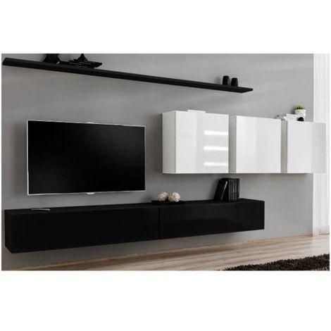 Ensemble meuble salon SWITCH VII design, coloris noir et blanc brillant. - Noir