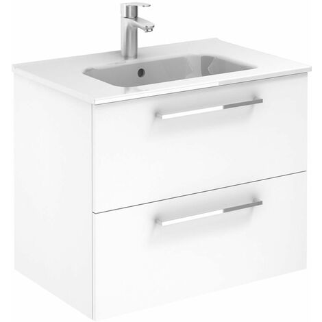 Ensemble meuble SAPHIR SLIM (70 cm) avec tiroirs - Modèle en 2 TIROIRS - 1 vasque - Lg 70 cm - Finition : Blanc