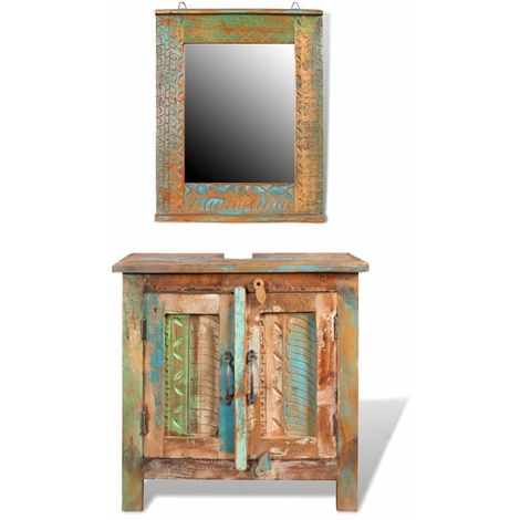 Ensemble meuble sous vasque et miroir en bois massif recycle