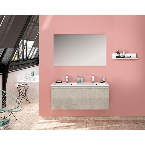 Ensemble meuble sous-vasque et plan de toilette en polybéton - Allibert Pesaro