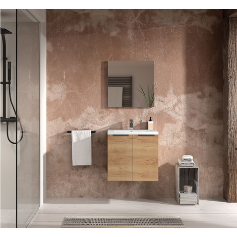 Ensemble meuble sous vasque SANTIAGO et plan de toilette en céramique