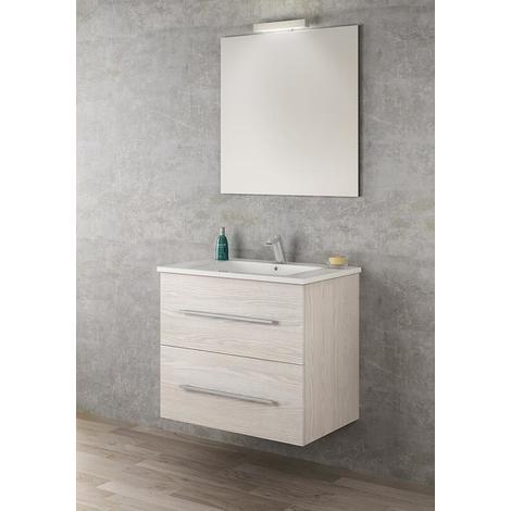Ensemble meuble suspendu Perla 80cm simple vasque - Qualyx - Blanc cérusé