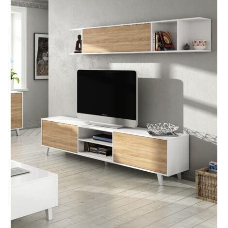 Ensemble Meuble Tv 180 cm Blanc Brillant et Chêne Canadian   Couleur