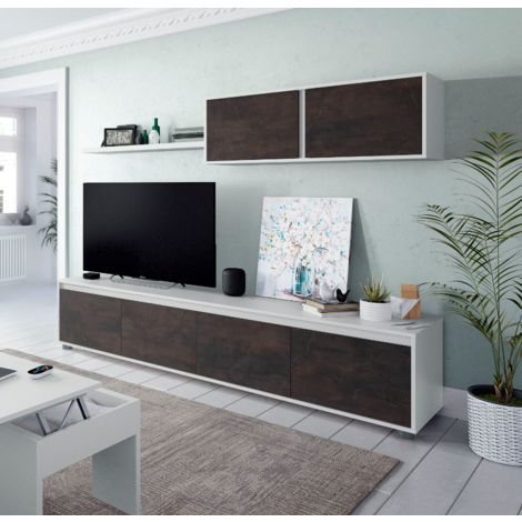 Ensemble Meuble Tv 200 cm Blanc mat et oxyde   Couleur