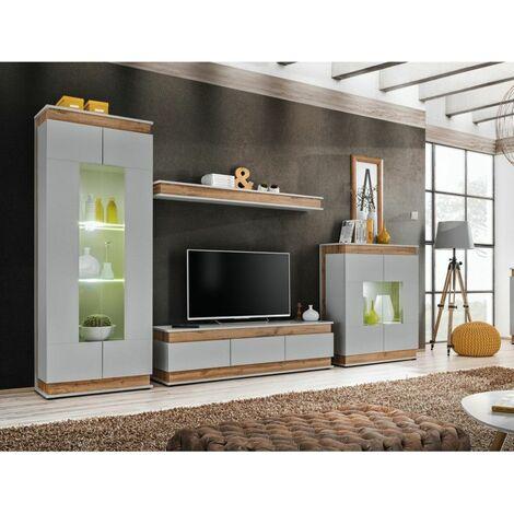 Ensemble meuble TV Berlin - L 330 x P 40 x H 190 cm - Gris et marron - Livraison gratuite