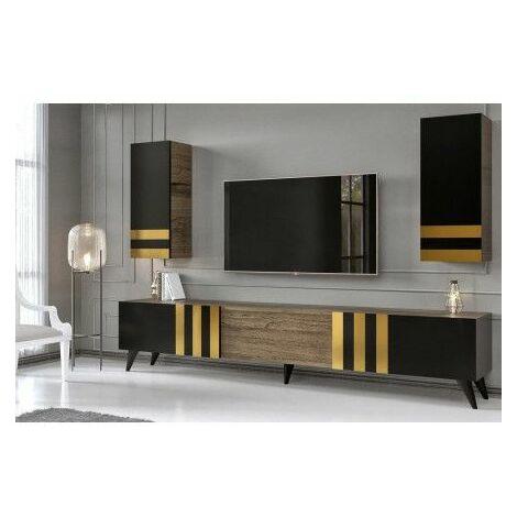 Ensemble meuble TV GOLD Noir-Or - Noir