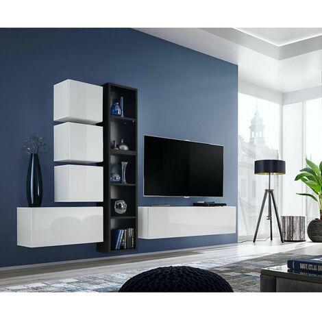 Ensemble meuble TV mural Blox XI - L 280 x P 32 x H 175 cm - Blanc et noir - Livraison gratuite