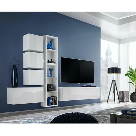 Ensemble meuble TV mural Blox XI - L 280 x P 32 x H 175 cm - Blanc - Livraison gratuite