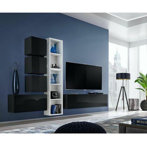Ensemble meuble TV mural Blox XI - L 280 x P 32 x H 175 cm - Noir et blanc - Livraison gratuite