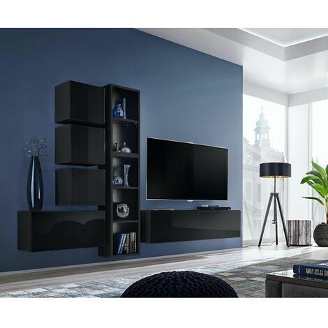 Ensemble meuble TV mural Blox XI - L 280 x P 32 x H 175 cm - Noir - Livraison gratuite