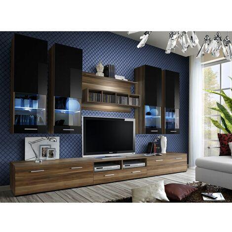 Ensemble meuble TV mural - Dorade A - L 100 cm - 5 éléments - Prunier et noir - Livraison gratuite
