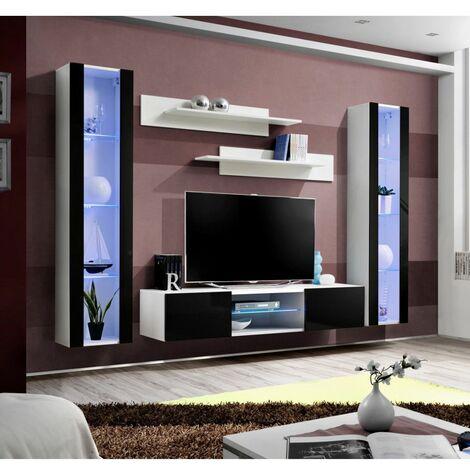 Ensemble meuble TV mural - FLY O2 - 260 x 40 x 190 cm - Noir et blanc - Livraison gratuite