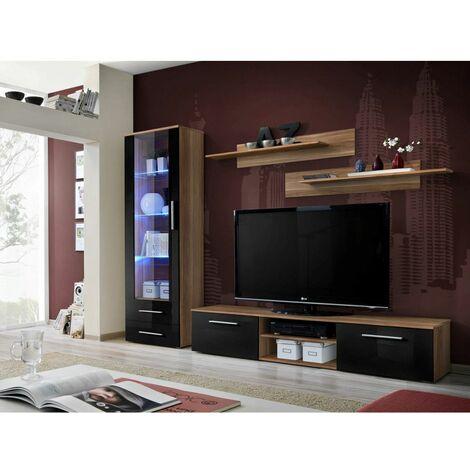 Ensemble meuble TV mural - GALINO A - 250 cm x 190 cm x 45 cm - Prunier et noir - Livraison gratuite