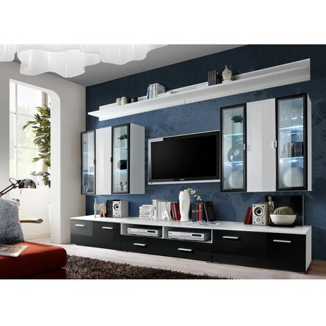 Ensemble meuble TV mural - Iceland - L 120 cm - 5 élements - Blanc et noir - Livraison gratuite