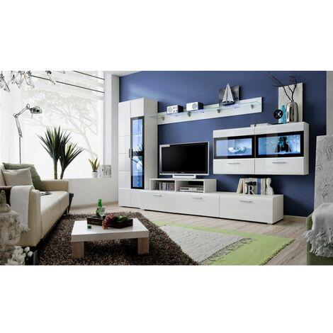 Ensemble meuble TV mural - KRONE IV - 270-300 cm x 182 cm x 45 cm - Blanc - Livraison gratuite