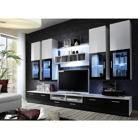 Ensemble meuble TV mural - LYRA - 300 cm x 190 cm x 45 cm - Blanc et noir - Livraison gratuite