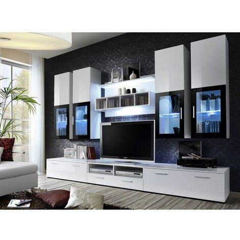 Ensemble meuble TV mural - LYRA - 300 cm x 190 cm x 45 cm - Blanc - Livraison gratuite
