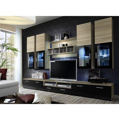Ensemble meuble TV mural - LYRA - 300 cm x 190 cm x 45 cm - Chêne - Livraison gratuite