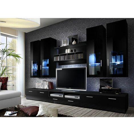 Ensemble meuble TV mural - LYRA NIGHT - 300 cm x 190 cm x 45 cm - Noir - Livraison gratuite