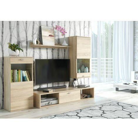 Ensemble meuble TV mural Rico - L 180 x P 38 x 140 cm - Beige - Livraison gratuite