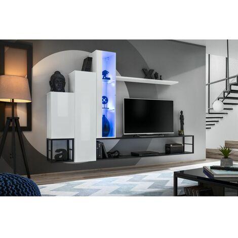 Ensemble meuble TV mural Switch Met VIII - L 240 x P 30 x H 151 cm - Blanc - Livraison gratuite