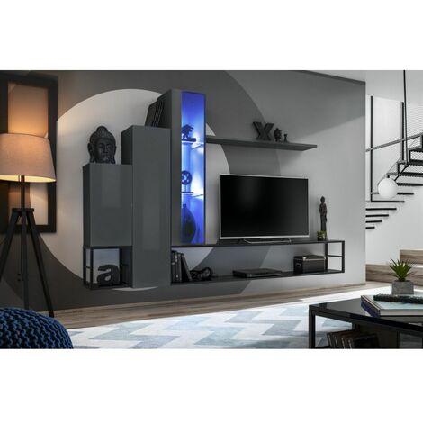 Ensemble meuble TV mural Switch Met VIII - L 240 x P 30 x H 151 cm - Gris - Livraison gratuite