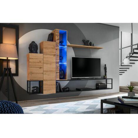 Ensemble meuble TV mural Switch Met VIII - L 240 x P 30 x H 151 cm - Marron - Livraison gratuite