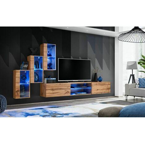 Ensemble meuble TV mural Switch XXII - L 240 x P 40 x H 170 cm - Marron - Livraison gratuite