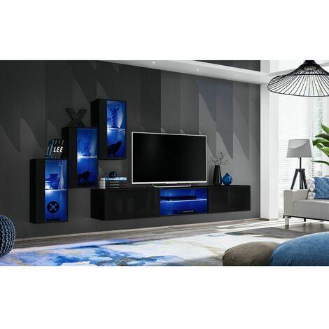 Ensemble meuble TV mural Switch XXII - L 240 x P 40 x H 170 cm - Noir - Livraison gratuite