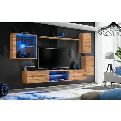 Ensemble meuble TV mural Switch XXIII - L 250 x P 40 x H 140 cm - Marron - Livraison gratuite