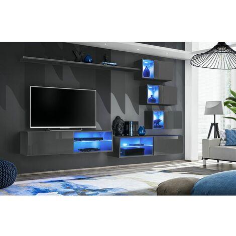 Ensemble meuble TV mural Switch XXIV - L 260 x P 40 x H 170 cm - Gris - Livraison gratuite