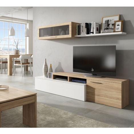 Ensemble Meuble Tv Nova 200 cm blanc brillant et roble canadien | Blanc Brillant/Roble Canadian