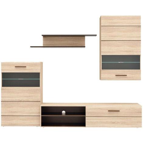 Ensemble meuble TV paroi murale aspect chêne clair - BAZIK - Beige