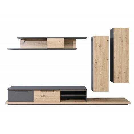 Ensemble meuble TV paroi murale en bois marron et gris - BELAIR - Bois