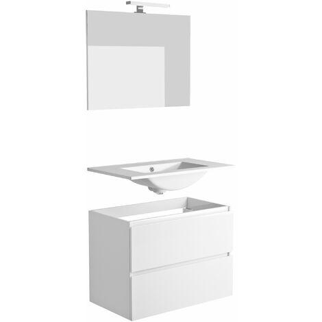 """main image of """"Ensemble meuble vasque 80 cm 2 tiroirs LIVO avec éclairage LED 6 W et miroir blanc brillant"""""""
