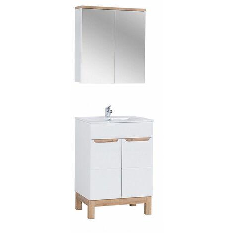 Ensemble meuble vasque + cabinet-miroir - Blanc - 60 cm - Bali - Livraison gratuite