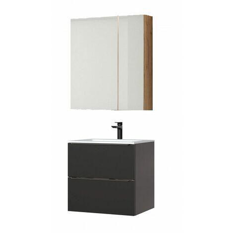 Ensemble meuble vasque + cabinet-miroir - Noir - 60 cm - Capri Black - Livraison gratuite