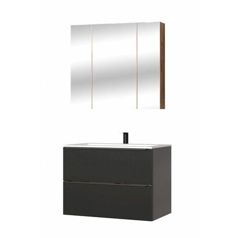 Ensemble meuble vasque + cabinet-miroir - Noir - 80 cm - Capri Black - Livraison gratuite