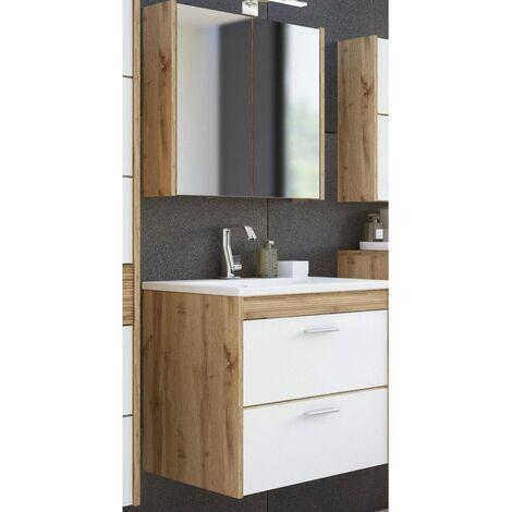 Ensemble meuble vasque + miroir - Blanc - 60 cm - Ibiza - Livraison gratuite
