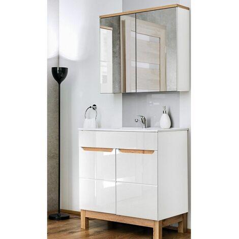 """main image of """"Ensemble meuble vasque + miroir - Blanc - 80 cm -Bali Bialy - Livraison gratuite"""""""