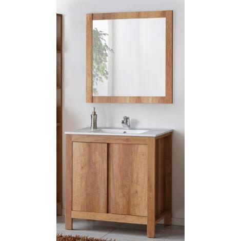 Ensemble meuble vasque + miroir - Bois - 80 cm - Classic Oak - Livraison gratuite
