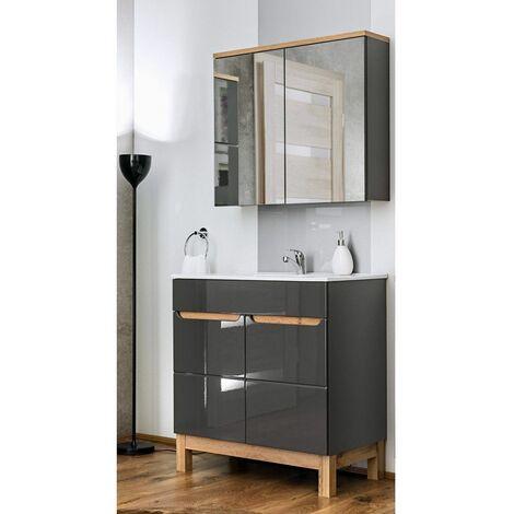 Ensemble meuble vasque + miroir - Gris - 60 cm - Bali Gray - Livraison gratuite