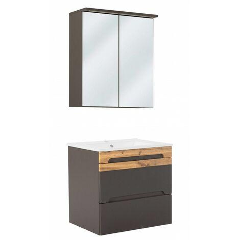 Ensemble meuble vasque + miroir - Gris - 60 cm - Galaxy - Livraison gratuite