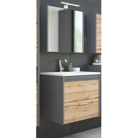 Ensemble meuble vasque + miroir - Gris foncé - 60 cm - Ibiza - Livraison gratuite