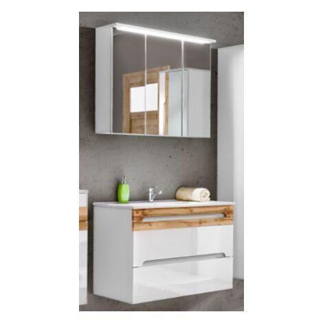 Ensemble meuble vasque + miroir - LED - Blanc - 80 cm - Galaxy Bialy - Livraison gratuite