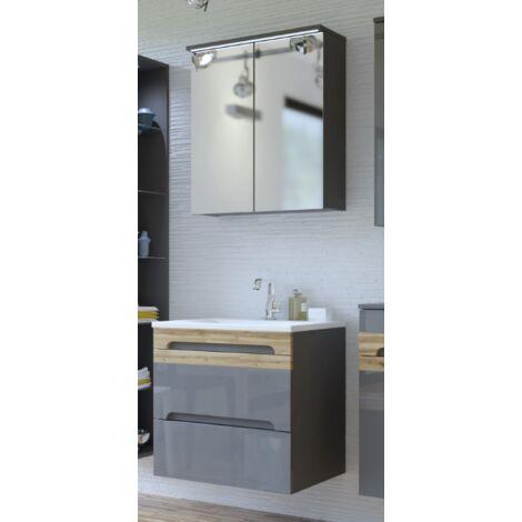 Ensemble meuble vasque + rangement miroir - LED - Gris - 60 cm - Galaxy Grafit - Livraison gratuite