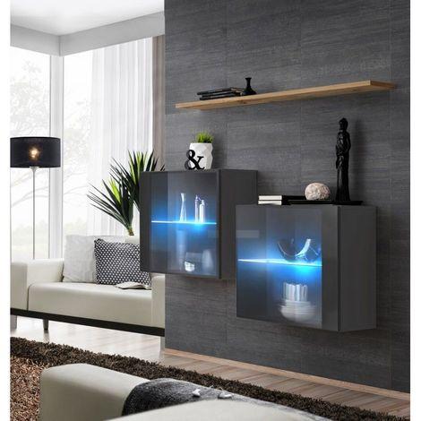 Ensemble meubles de salon SWITCH SBII, coloris gris brillant et porte vitrée avec système LED intégré, étagère chêne Wotan. - Gris