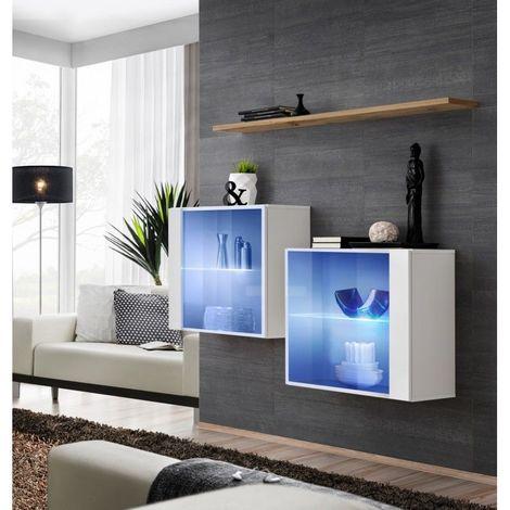 Ensemble meubles de salon SWITCH SBIII, coloris blanc brillant et porte vitrée avec système LED intégré, étagère chêne Wotan. - Blanc