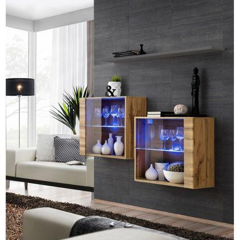 Ensemble meubles de salon SWITCH SBIII, coloris chêne Wotan et porte vitrée avec système LED intégré, étagère grise. - Marron